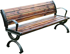 3-Seater Terrace Park Garden Bench, Cast Aluminum Legs anticorrosive Solid Wood slatted Benches, Weather-Resistant Porch Chair with armrests and backrest, 550BLS Load-Bearing Outdoor Patio Seating