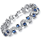 Feraco Blue Tennis Bracelet Women Cubic Zirconia Crystal Bangle Wedding Bridal Jewelry Mother's Day Gifts for Mom