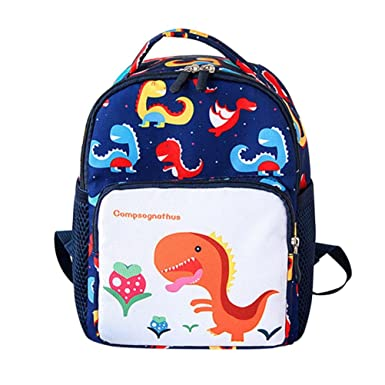 f7350cdfe1b Children Kids Baby Girls Boys Cartoon Dinosaur Animal Backpack Toddler  School Bag (Dark Blue,