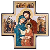 Holy Family Cross Icon, 6'' x 6''