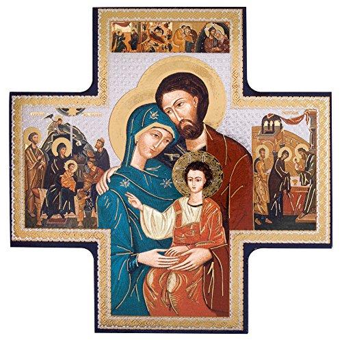 Holy Family Cross Icon, 6'' x 6'' by Savini - Liviano Riva