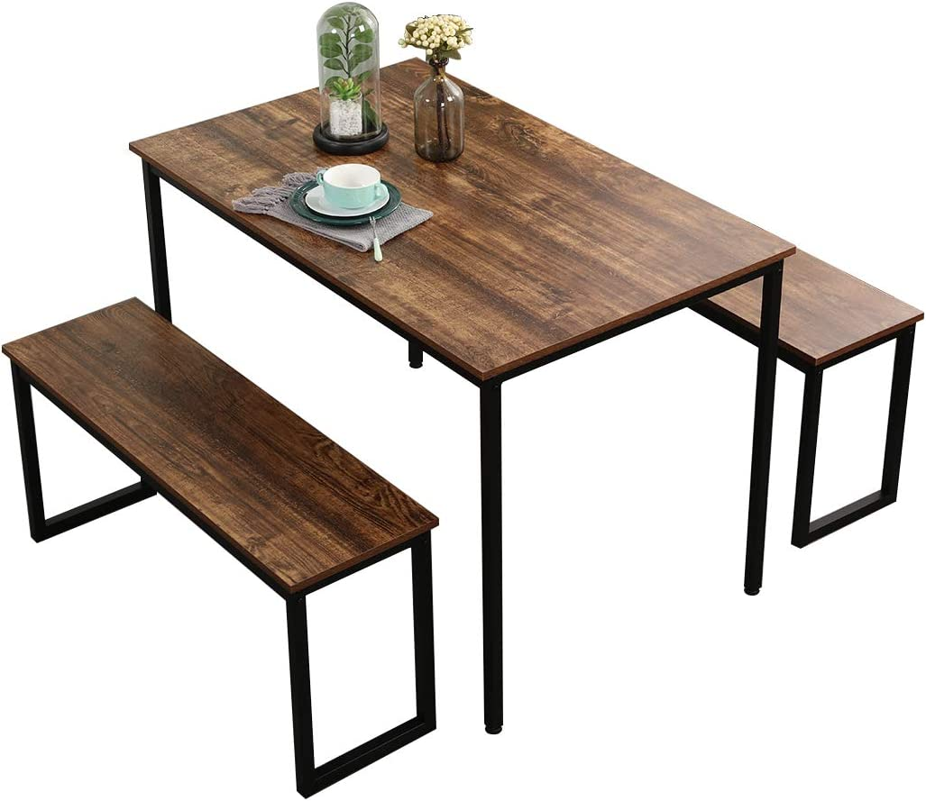 soges 3 Piece Dining Table Set with 2 Benches Soho Dining Table Set Kitchen Table Set Breakfast Table Industrial Style Wooden Kitchen Table and Chairs with Metal Frame CZJYB-yzld01