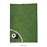 Custom printed Throw Blanket with Sports Decor Collection Soccer Ball In Corner Kick Position Football Field Top View Grass Lawn Terrain Super soft and Cozy Fleece Blanket