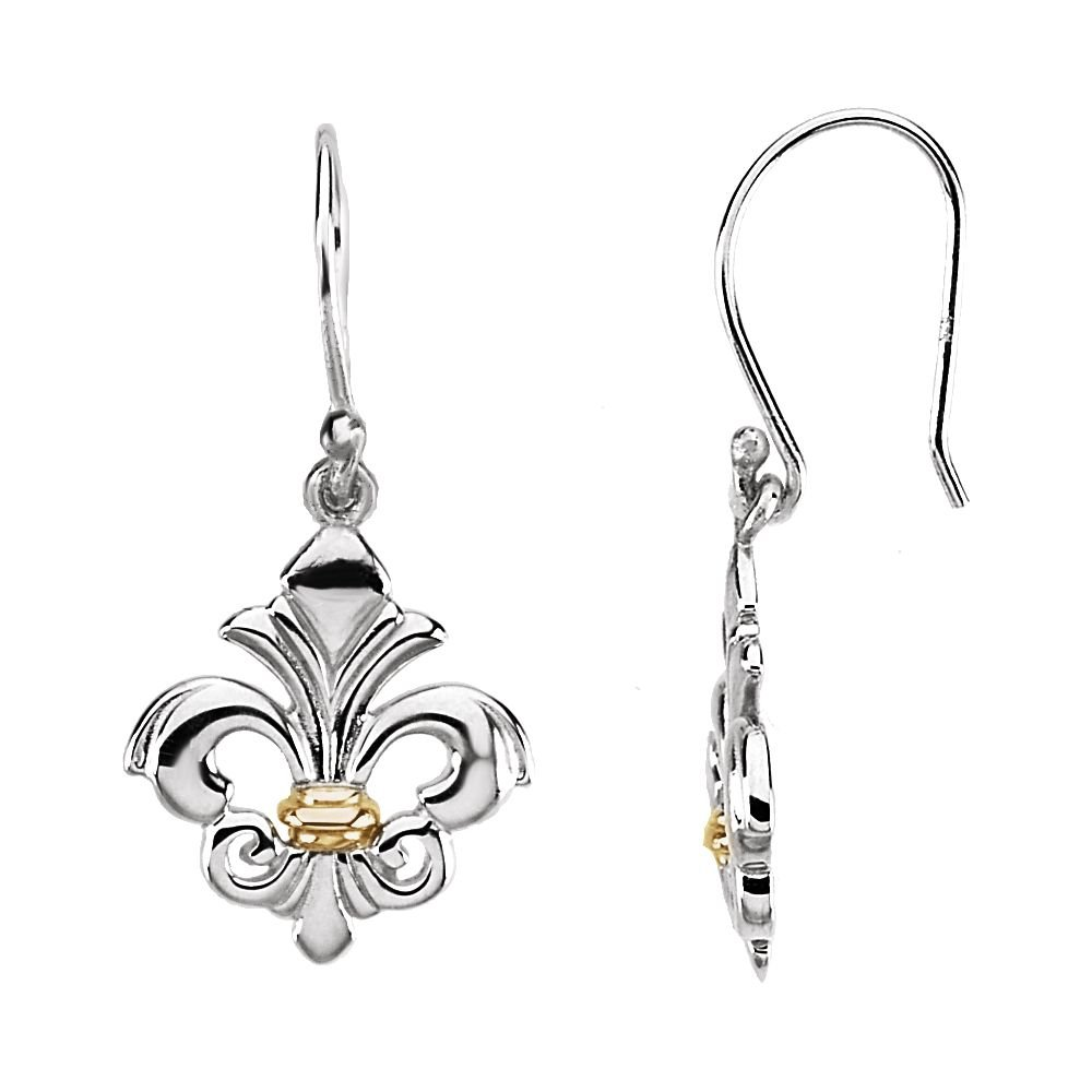 b72e09d55 Amazon.com: Sterling Silver and 14K Yellow Gold Fleur-de-lis Dangle Earring:  Jewelry