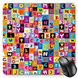 BGLKCS Abstract Mouse Pad, Colored Alphabet Letters Pattern Education School Puzzle Children Graphic Print, Standard Size Rectangle Non-Slip Rubber Mousepad, Multicolor