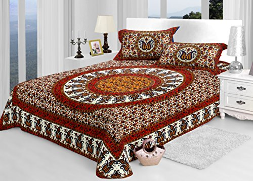 Jaipuri Bedsheets (Cotton Double Bedsheet For Double Bed With 2 Pillow Covers)-By Cloth Fusion