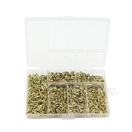 Tornillos pequeños para bisagras pequeñas Tornillos autoperforantes antiguos Multiuso DIY tornillos miniatura Set 1200pcs oro