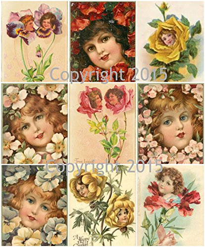 Vintage Victorian Flower Faces Collage Sheet Art Images for Decoupage, Scrapbooking, Jewelry Making