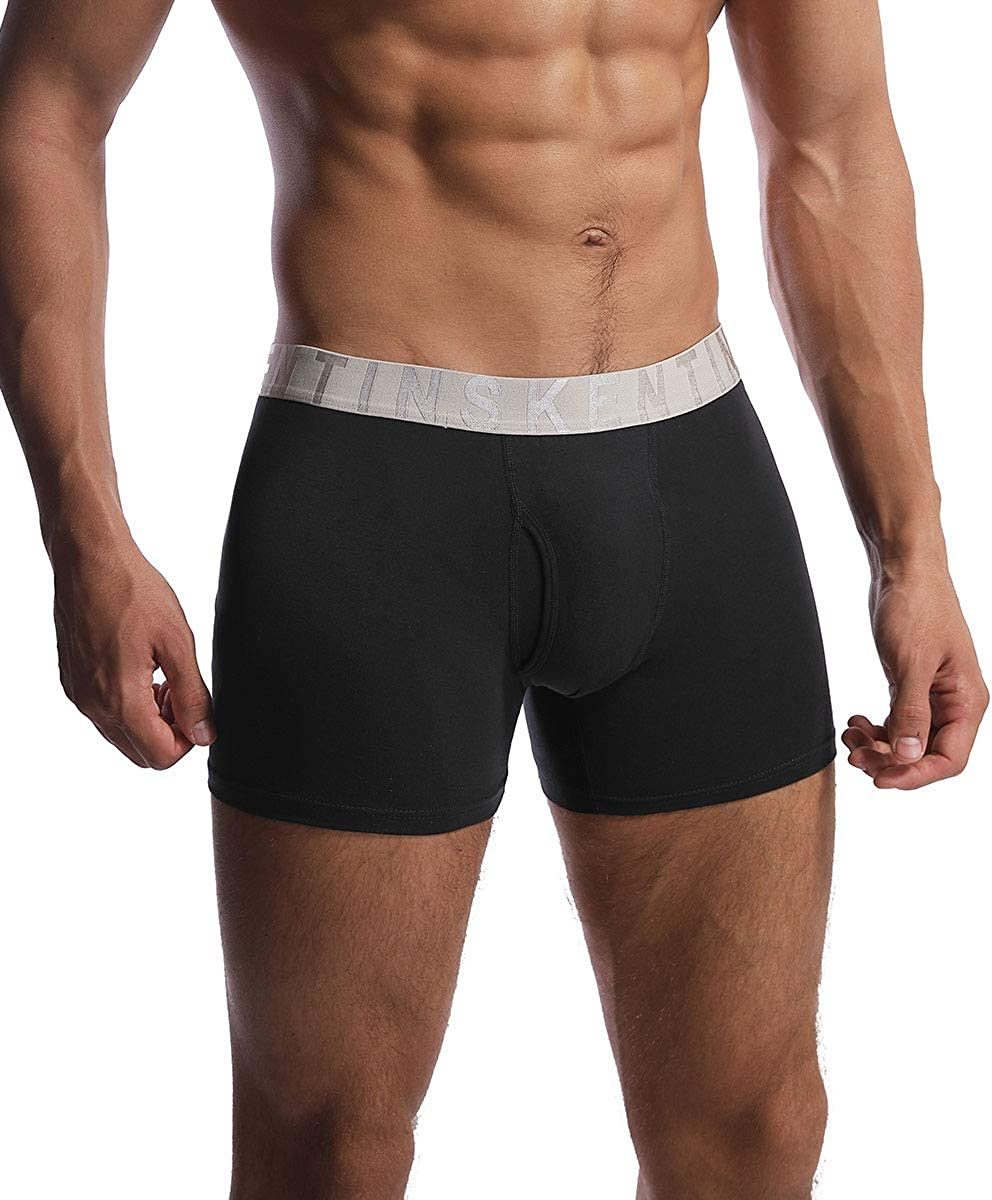 Inskentin Mens Soft Cotton Stretch Knit Boxer Shorts Relaxed Fit Loose Underwear with Button Fly 1 Pack or 3 Pack