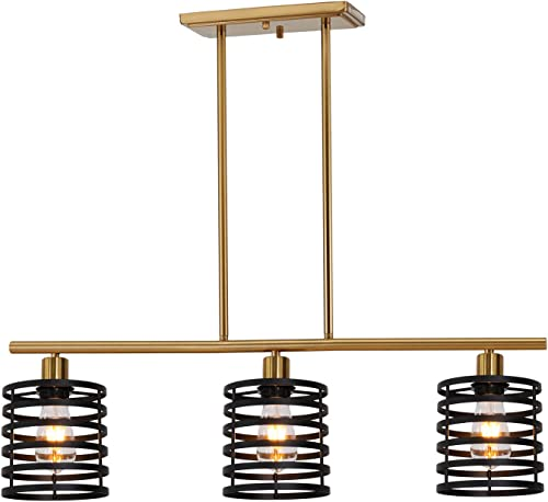 VINLUZ 3 Lights Contemporary Chandeliers Black and Brass Metal Retro Kitchen Island Pendant Lighting Industrial Farmhouse Ceiling Light Fixtures Dining Room