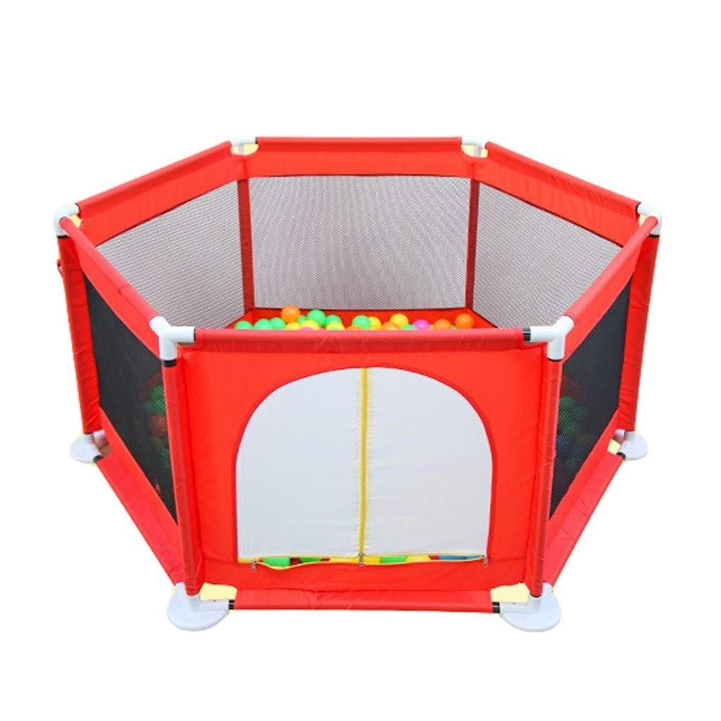 Baby playpen Hexagon Children's Fence, Baby's Folding Perspective Grid. Comfortable and Safe Play Fence (Color : Red, Size : H66cm) by LIL Baby playpen