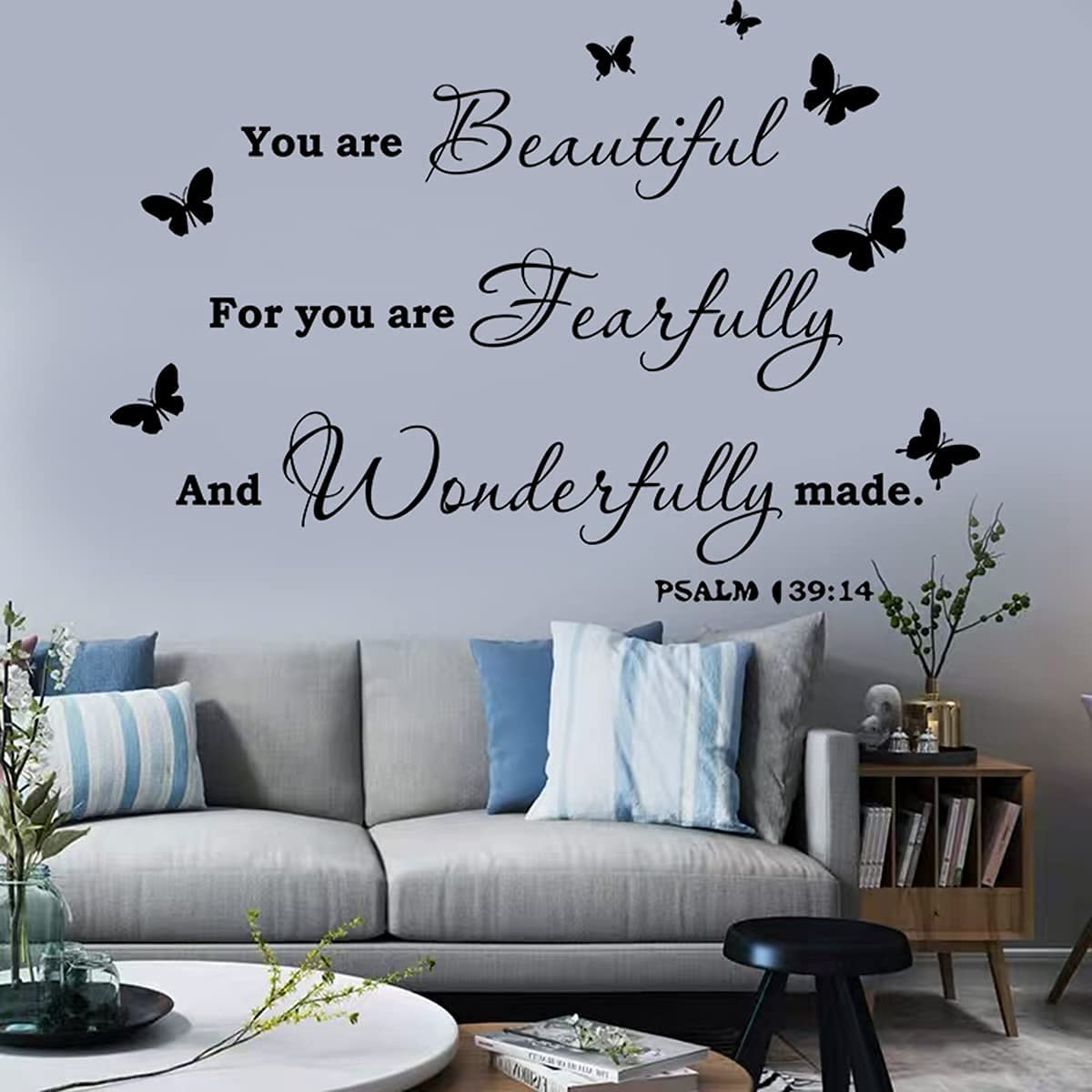 Inspirational Wall Sticker Wall Decor Wall Saying You are Beautiful for You are Fearfully and Wonderfully Wall Quotes Wall Decal for Living Room Bedroom Classroom Office Wall Decoration.