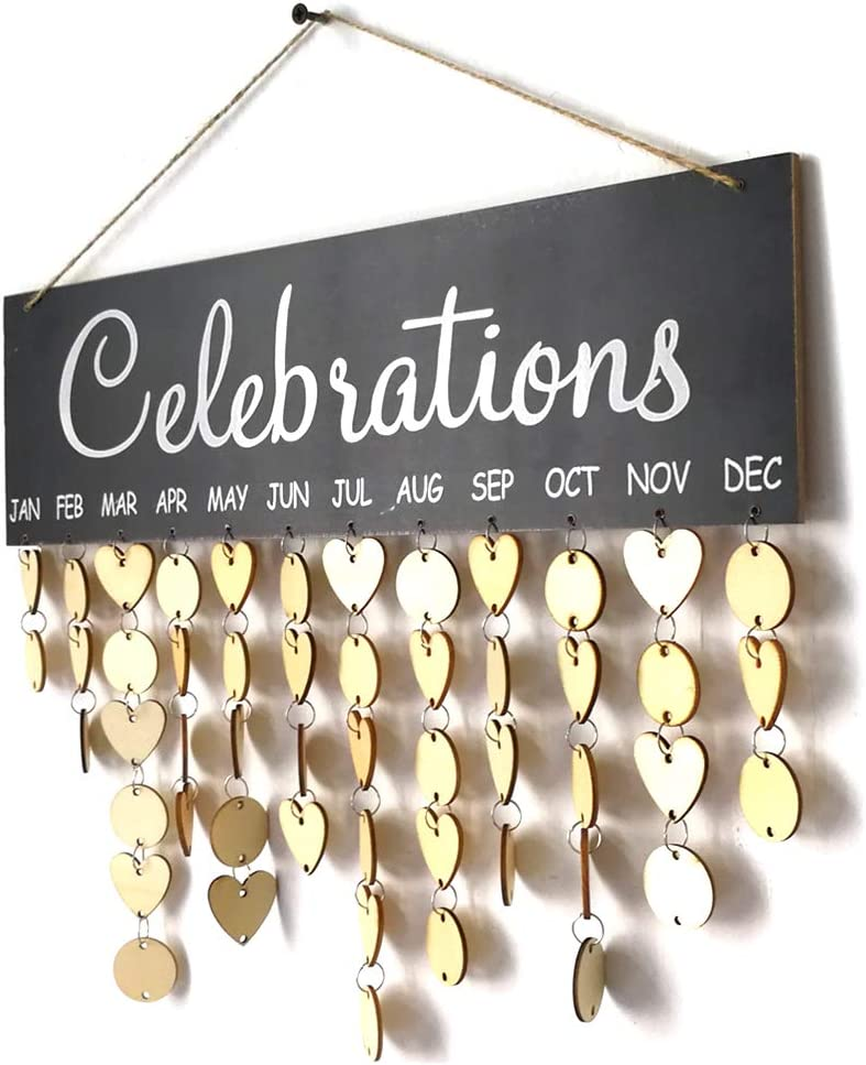 Walmeck Wooden Calendar Board Sign Family Celebration and Birthday Reminder DIY Wooden Craft for Home Decoration