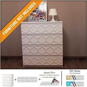 HomeArtDecor - Trellis Modern Furniture Overlay | Handmade Lattice Fretwork | Moroccan Pattern | Color: White | Suitable for Malm IKEA drawers