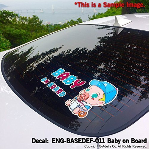 Full Color Car Window Safety Sign Decal Sticker Carlos Hangover Baby on Board ENG-CARLOS-001 CUSTOMI Baby Blue White