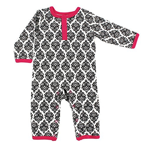 Damask Baby Girl Clothes (Yoga Sprout Baby Cotton Union Suit, Damask, 6-9 Months)