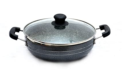 Classic Cookware Marble Coated Aluminum Kadai with Glass Lid in Grey (22cm/2.1Ltr)
