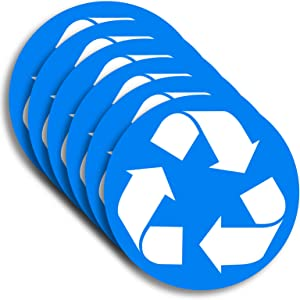 6 Pack (5in x 5in White/Blue) Recycle Logo Sticker to Organize Your Trash - 7 Mil - Laminated - for Trash cans, Garbage containers and Recycle Bins - Premium Vinyl Decal