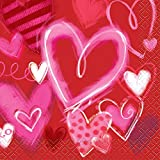 Painted Hearts Valentine's Day Beverage Napkins, 24ct