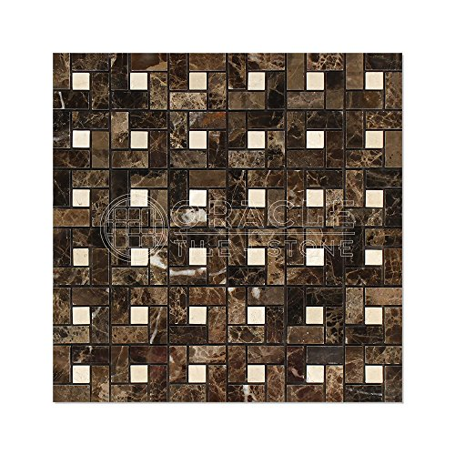 Emperador Dark Spanish Marble Pinwheel Mosaic Tile with Crema Marfil Marble Dots, Polished - Crema Marfil Mosaic