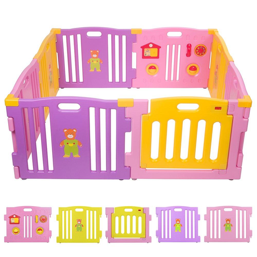 BEBEHUT® Reja de seguridad Barreras protectoras de plástico para bebés Baby Vivo Parque Infantil 3801-D02 JBW08 rosa - amarillo - púrpura TIGGO