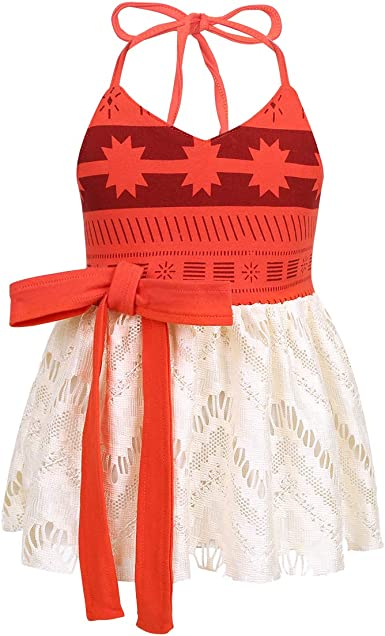 Baby Girl Moana Fancy Dress Romper Sister Matching Ruffle Lace Outfits Costume