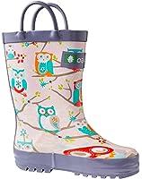 Oakiwear Kids Rubber Rain Boots with Easy-On Handles | Earthy Dino, Pink Owls, Clouds, Purple Unicorns, Sharks & Turtles