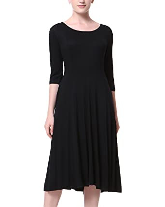 482c44d5ca20 Mixfeer Women's Scoop Neck 3/4 Sleeve Pleated A-line Swing Flare Casual Midi