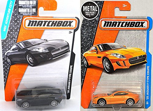 Jaguar Matchbox Black & Orange Set '15 Jaguar F-Type Coupe #15 Adventure City in PROTECTIVE CASES