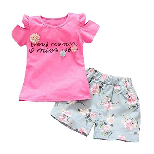a6b61309d SUNTEAMO Toddler Kids Baby Girl Letter T-Shirt Top+Floral Shorts Pants  Outfit Clothes