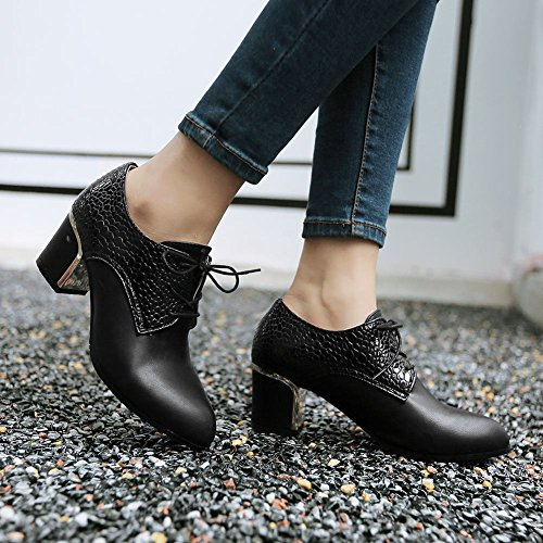 4cba2bf296b Latasa Women s Fashion Pointed-toe Lace-up Mid Chunky Heel Oxfords Shoes  good