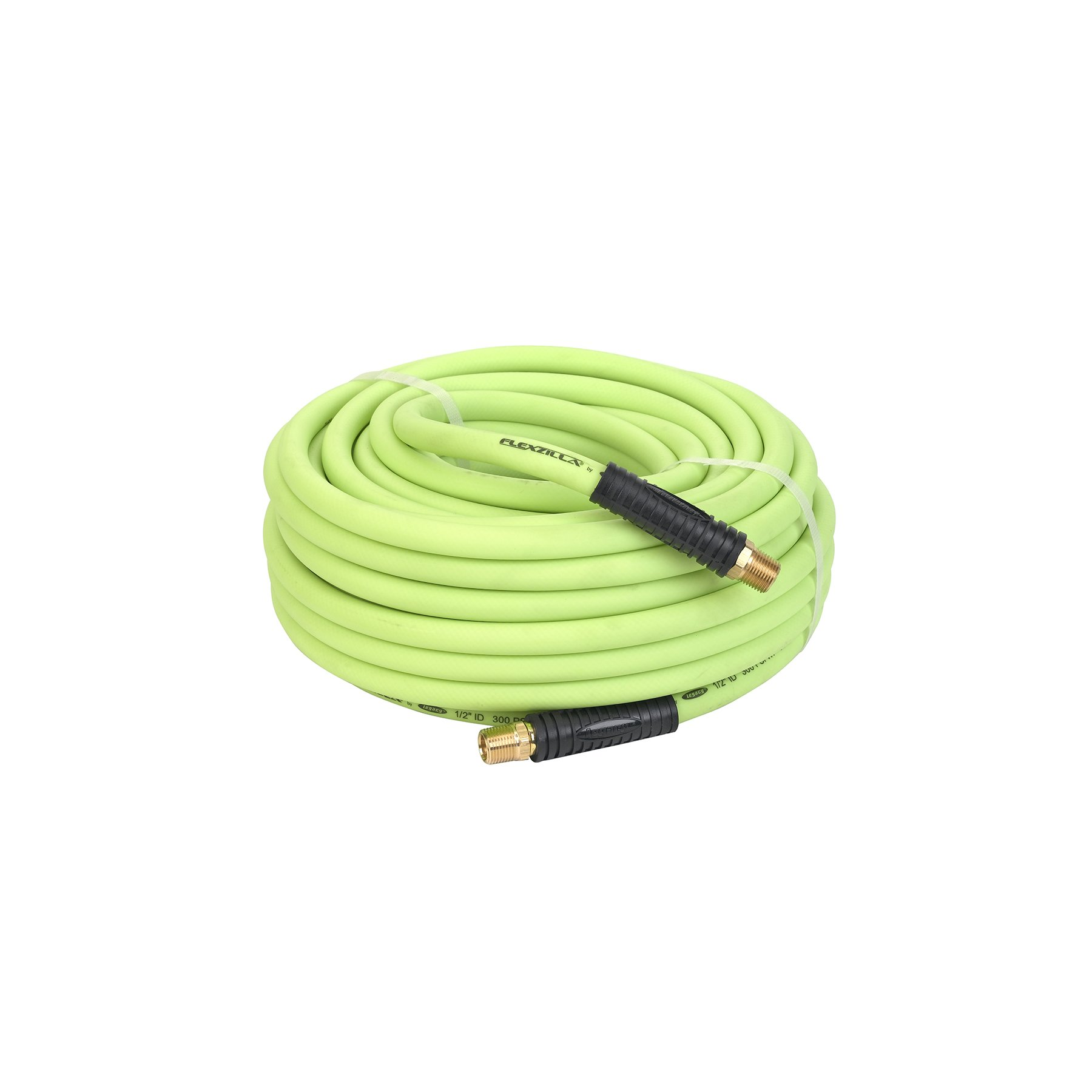 Flexzilla Air Hose, 1/2 in. x 100 ft., 1/2 in. MNPT Fittings, Heavy Duty, Lightweight, Hybrid, ZillaGreen - HFZ12100YW4 by Flexzilla (Image #1)