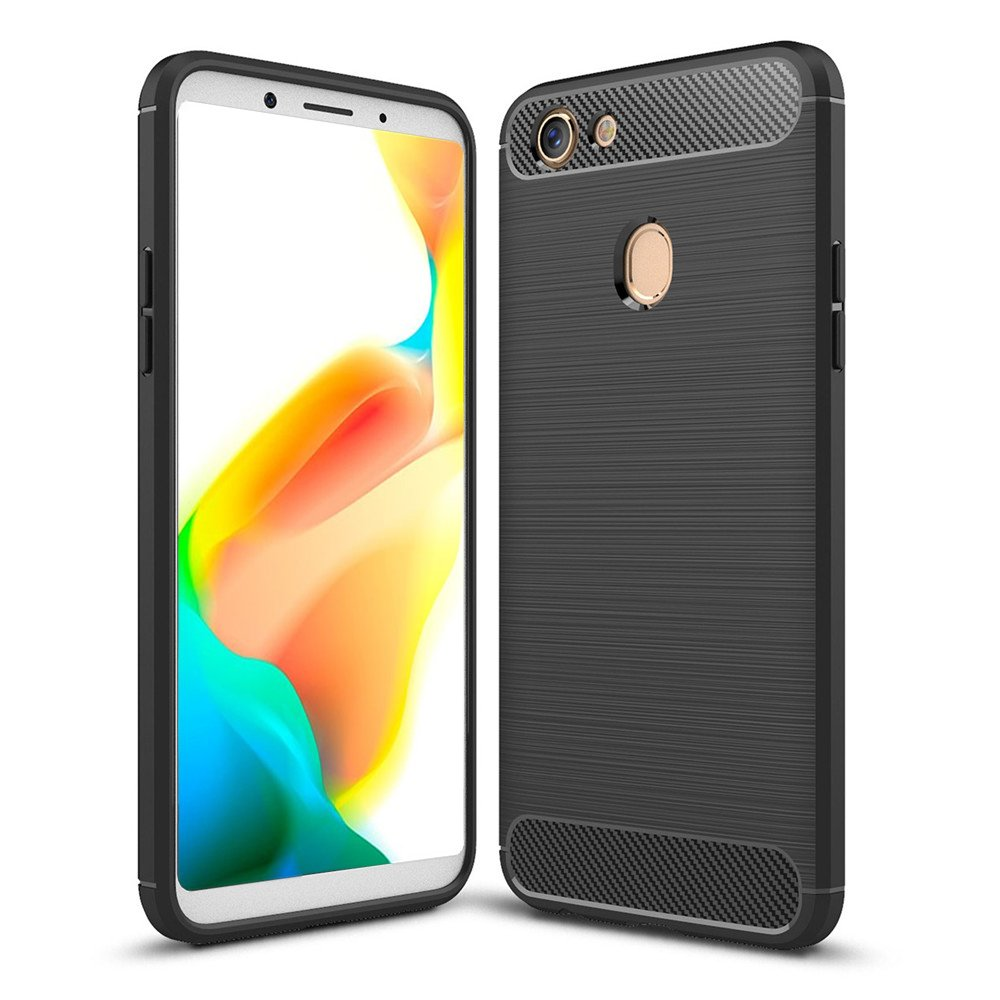 for Oppo A73 / F5 Carbon Fiber Hybrid Heavy Duty Tough Strong Shockproof  Case Cover (Black)