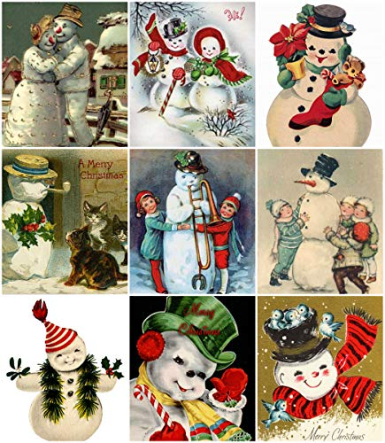 (Victorian Vintage Snowman Christmas Card Collage Sheet 8.5 x 11