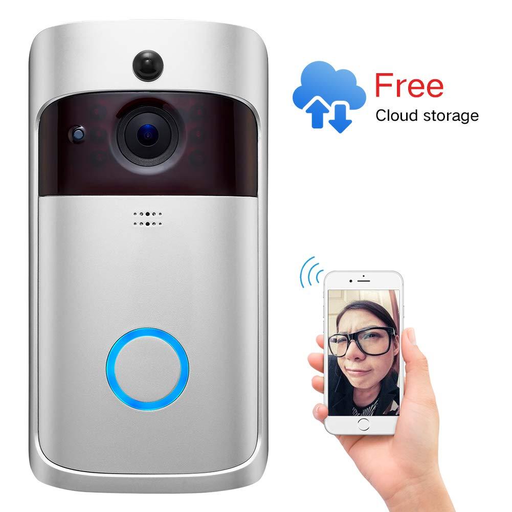 Video Doorbell 2,Pro Doorbell Camera HD WiFi Doorbell Wireless Front Door Camera with Doorbell Chime Battery Power Operated with Motion Detector Audio/&Speaker for iOS/&Android Phone