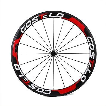 Costelo Llantas de ruedas de bicicleta de fibra de carbono, carretera, radios cortaviento, 700 C de carbono, carrera, vuelta rápida., rojo: Amazon.es: ...