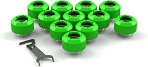 PrimoChill 1/2in. Rigid RevolverSX Series Fitting - 12 Pack - UV Green