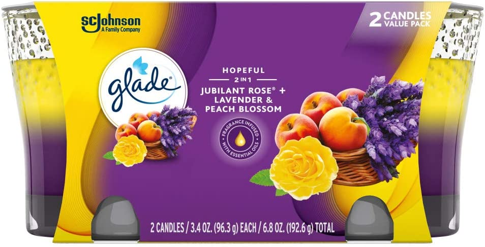 Glade Candle Jar, Air Freshener, 2in1, Jubilant Rose & Lavender & Peach Blossom, 6.8 oz, Pack of 2