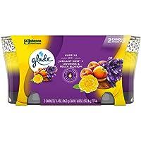 Glade Candle Jar, Air Freshener, 2in1, Jubilant Rose & Lavender & Peach Blossom, 3.4 Oz, 2 Count