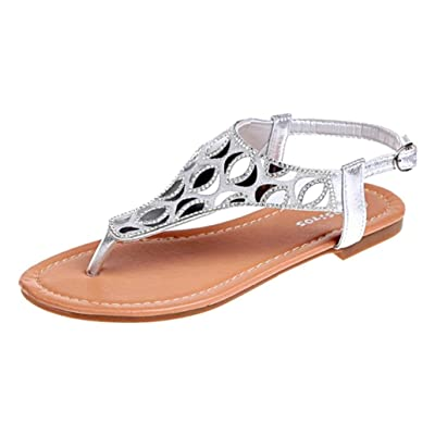 ab14f2a42c18b4 Été Soldes,Sandales Plates,Chaussures,Escarpins,Femmes Roman Flats Tongs  Crystal Mesdames