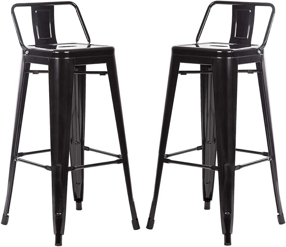 FDW Metal Bar Stool Set of 2 Height Adjustable 30 Inches Stackable Barstools Low Backrest Kitchen Chairs Patio Chairs Dining Stool Tolix Style Bar Stools,Black