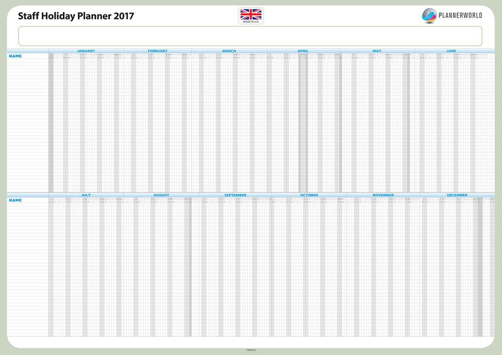 2017 A1, Full Woche Staff Urlaub Leave Planer Kit, Mitarbeiter Besuch Diagramm Register, bis zu 40 Mitarbeiter, Full Woche, A1 (hol17-a1-rolled) Plannerworld