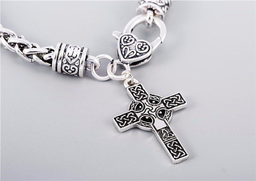 Hecho a mano joyas - gran símbolo celta Irlandés Cruz Colgante renacimiento cristiana católica joyería pulseras: Amazon.es: Joyería
