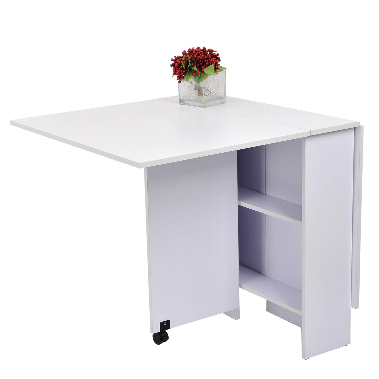 Folding Dining Table Drop Leaf Table Expandable Multifunctional w/ 2 Shelves by SpiritOne