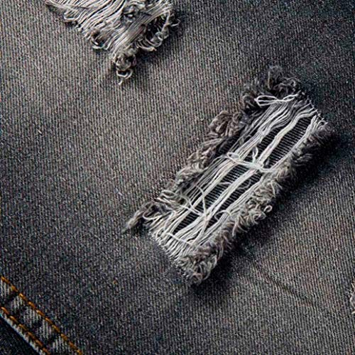 Pantaloni Slim Classico Jeans Fori E Basic Da Biker Nero Fit Cher Stile Moda Vintage Rotti Uomo Gamba Casual Dritta Aderente rwrApqx8X