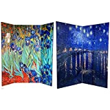 Oriental-Furniture-6-ft-Tall-Double-Sided-Works-of-Van-Gogh-Canvas-Room-Divider-IrisesStarry-Night-Over-Rhone
