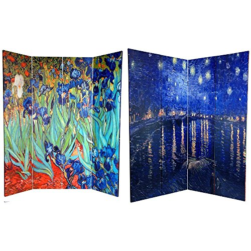 Oriental Furniture 6 ft. Tall Double Sided Works of Van Gogh Canvas Room Divider - Irises/Starry Night Over Rhone -