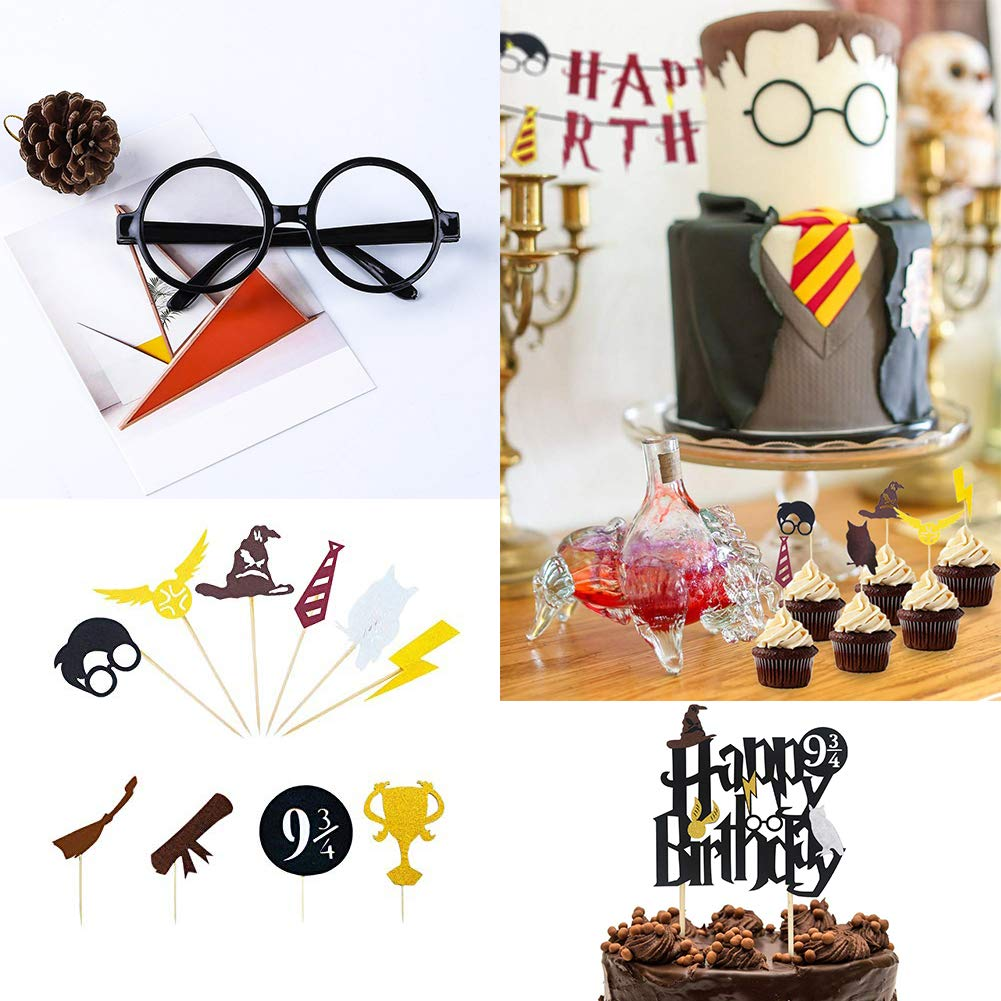WENTS Harry Potter Party Supplies 13 Pack Happy Birthday Banner Ispirato Cupcake Toppers Wizard Occhiali Picks per Decorazioni di Compleanno