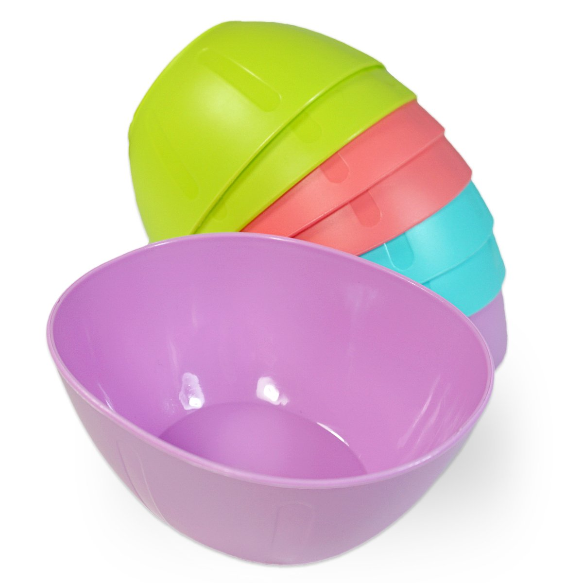 Set of 8 Small Plastic Serving Baby Bowls in Oval Shape and Assorted Colors. Microwavable Dishwasher Safe BPA-Free. Great for Kids Toddlers Cereal, Chips, Snack, Side, Dish, Dip, Soup, Candy bowls KS70133