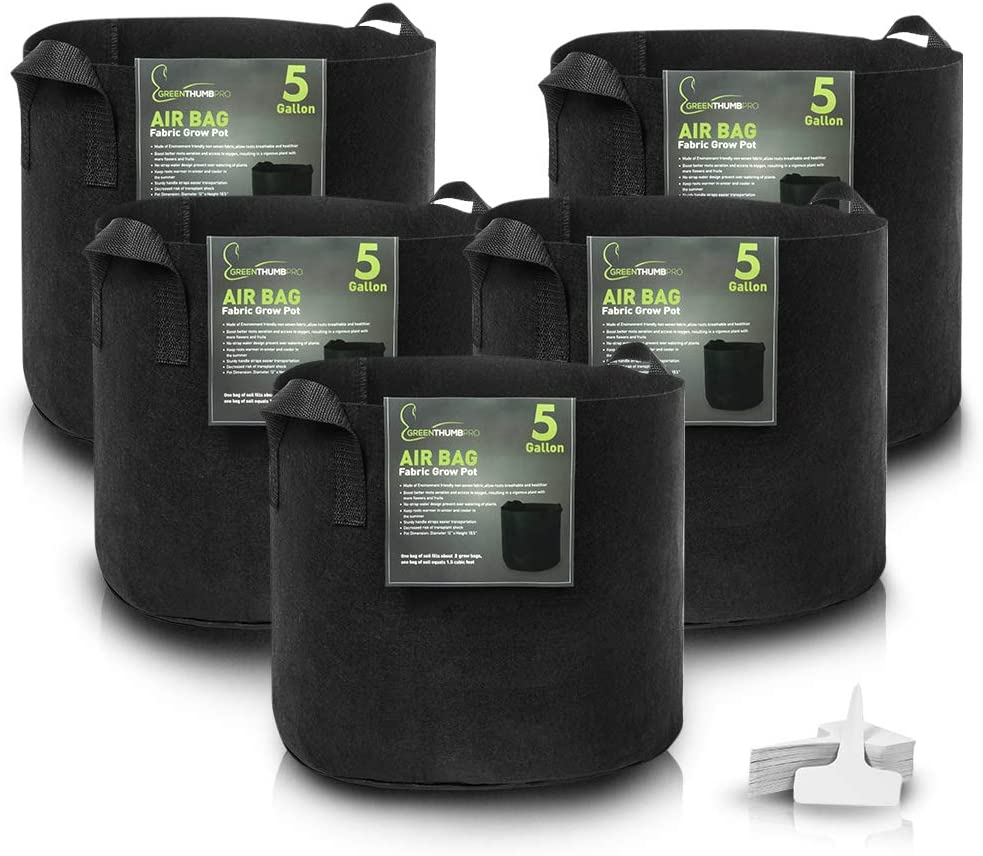 5 Gallon Fabric Pot Garden Grow Bags 5 Pack by Greenthumbpro for Indoor, Outdoor and Hydroponic Gardening